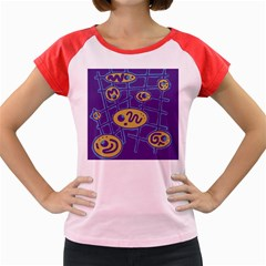 Purple and yellow abstraction Women s Cap Sleeve T-Shirt