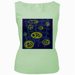 Purple and yellow abstraction Women s Green Tank Top