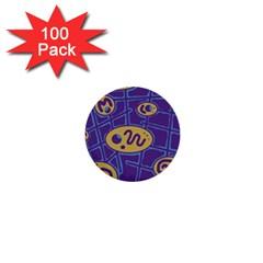 Purple and yellow abstraction 1  Mini Buttons (100 pack)