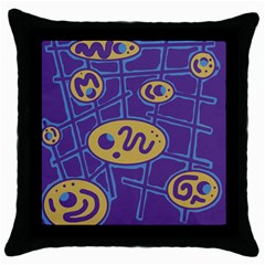 Purple and yellow abstraction Throw Pillow Case (Black)