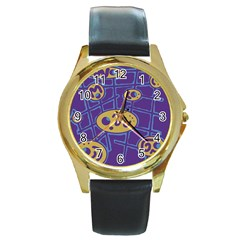 Purple and yellow abstraction Round Gold Metal Watch
