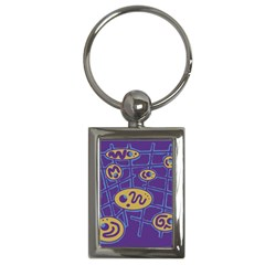 Purple and yellow abstraction Key Chains (Rectangle)