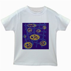 Purple and yellow abstraction Kids White T-Shirts