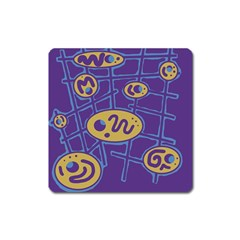 Purple and yellow abstraction Square Magnet