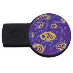 Purple and yellow abstraction USB Flash Drive Round (2 GB)