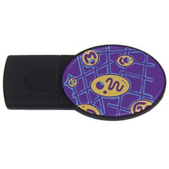 Purple and yellow abstraction USB Flash Drive Oval (1 GB)