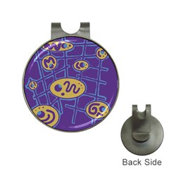 Purple and yellow abstraction Hat Clips with Golf Markers