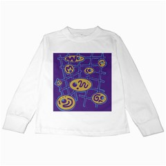 Purple and yellow abstraction Kids Long Sleeve T-Shirts