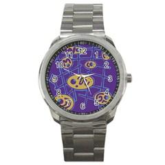 Purple and yellow abstraction Sport Metal Watch