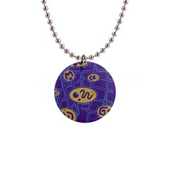 Purple and yellow abstraction Button Necklaces