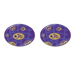 Purple and yellow abstraction Cufflinks (Oval)