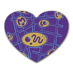 Purple and yellow abstraction Heart Mousepads