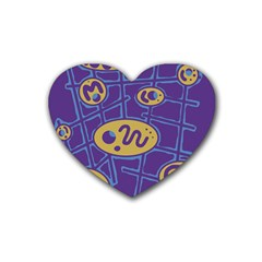 Purple and yellow abstraction Rubber Coaster (Heart)
