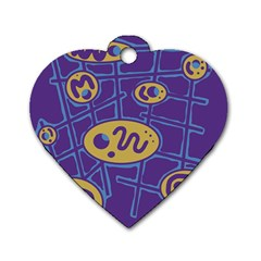 Purple and yellow abstraction Dog Tag Heart (One Side)