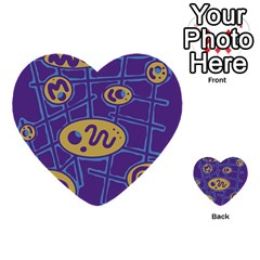 Purple and yellow abstraction Multi-purpose Cards (Heart)