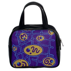 Purple and yellow abstraction Classic Handbags (2 Sides)