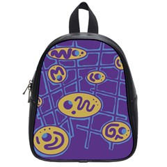 Purple and yellow abstraction School Bags (Small)