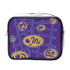 Purple and yellow abstraction Mini Toiletries Bags