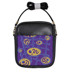 Purple and yellow abstraction Girls Sling Bags