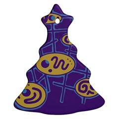 Purple and yellow abstraction Christmas Tree Ornament (2 Sides)