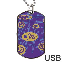 Purple and yellow abstraction Dog Tag USB Flash (One Side)