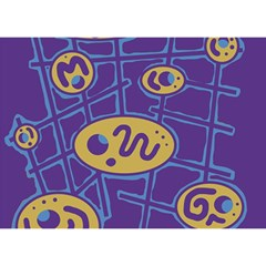 Purple and yellow abstraction Birthday Cake 3D Greeting Card (7x5)