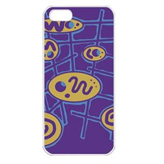 Purple and yellow abstraction Apple iPhone 5 Seamless Case (White)