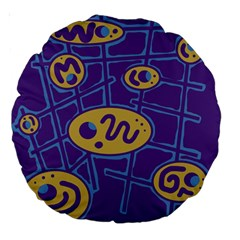 Purple and yellow abstraction Large 18  Premium Round Cushions