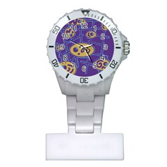 Purple and yellow abstraction Plastic Nurses Watch