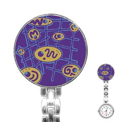 Purple and yellow abstraction Stainless Steel Nurses Watch