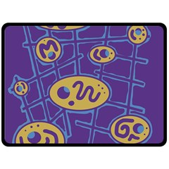 Purple and yellow abstraction Double Sided Fleece Blanket (Large)