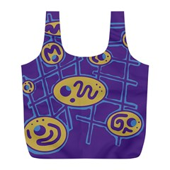 Purple and yellow abstraction Full Print Recycle Bags (L)