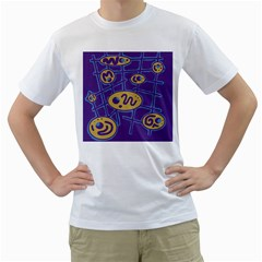 Purple and yellow abstraction Men s T-Shirt (White)