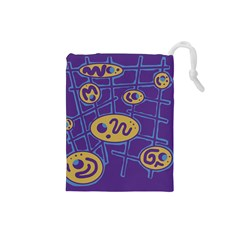 Purple and yellow abstraction Drawstring Pouches (Small)