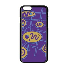 Purple and yellow abstraction Apple iPhone 6/6S Black Enamel Case