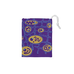 Purple and yellow abstraction Drawstring Pouches (XS)
