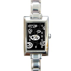 Black and white crazy abstraction  Rectangle Italian Charm Watch