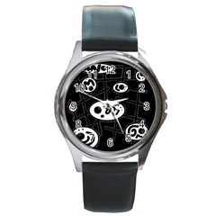 Black and white crazy abstraction  Round Metal Watch