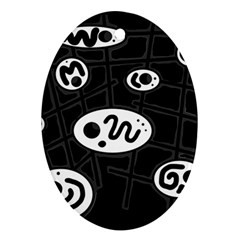 Black and white crazy abstraction  Ornament (Oval)