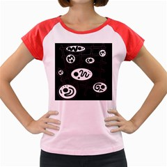 Black and white crazy abstraction  Women s Cap Sleeve T-Shirt