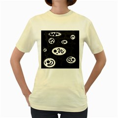 Black and white crazy abstraction  Women s Yellow T-Shirt