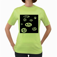 Black and white crazy abstraction  Women s Green T-Shirt