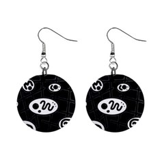 Black and white crazy abstraction  Mini Button Earrings
