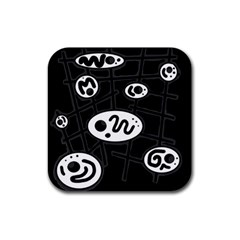 Black and white crazy abstraction  Rubber Coaster (Square)