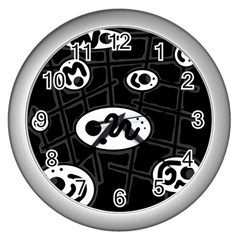 Black and white crazy abstraction  Wall Clocks (Silver)