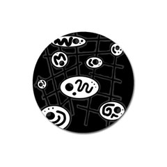 Black and white crazy abstraction  Magnet 3  (Round)