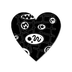 Black and white crazy abstraction  Heart Magnet