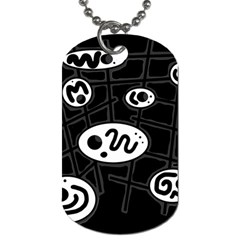 Black and white crazy abstraction  Dog Tag (One Side)