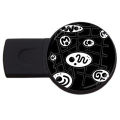 Black and white crazy abstraction  USB Flash Drive Round (2 GB)