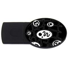 Black and white crazy abstraction  USB Flash Drive Oval (1 GB)